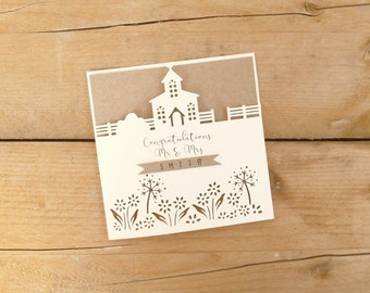 Personalised Papercut Wedding Card / Bride and Groom Card / Wedding Congratulations Card / Mr and Mrs Card