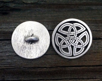 Celtic Trinity Knot Pewter Buttons | Celtic Buttons | Medieval Button | Tri Knot Button | Metal Shank Button | by Treasure Cast Pewter