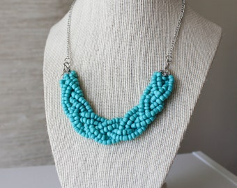 Turquoise Statement Necklace, Turquoise Braided Bead Necklace, Turquoise Multistrand Necklace