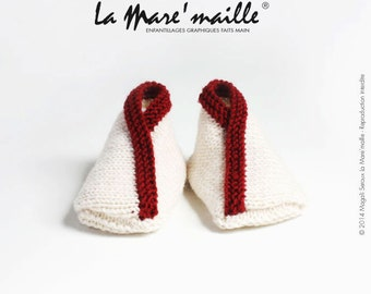 Knit red Navy and cream very soft Merino Wool baby booties knitted hand de La Mare' mesh