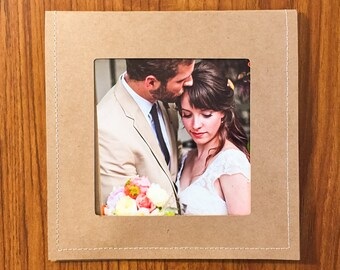 50 Brown Stitched DVD Sleeves with photo on front and flap closure