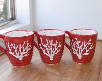 16 ounce mug, Red / White, Large coffee or tea mug, Chinese red, white coral design, white inside with red spatters.