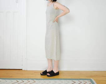 90s Spaghetti Strap Beige Plaid Long Dress / Size Medium