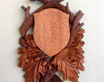 Woodcarved  Taxidermy Plaque for Antlers