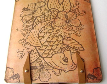 Leather iPad / kindle (2or3) case- Koi and Hibiscus flowers design