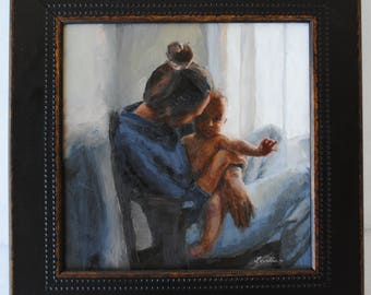 Mom and Baby Original Oil Painting