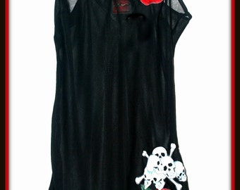 Rockabilly Phychobilly Skulls,Bones and Roses Slip Black Lingerie Nighty ....Size S