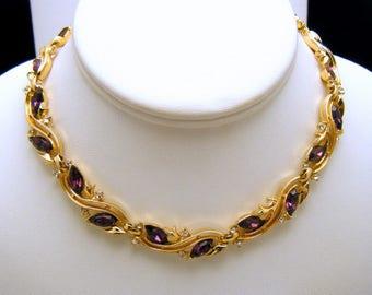 Beautiful Vintage Crown Trifari Necklace Purple Clear Rhinestones Gold Tone