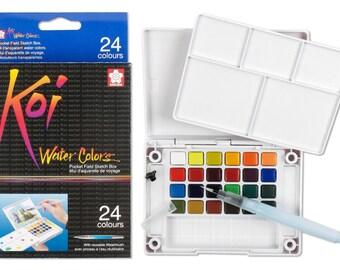 Sakura Koi Watercolor Set - 24 Color w/ Water Brush | Watercolor Sketch Set, Watercolor Palette | Water Colors Pocket Field Sketch Box