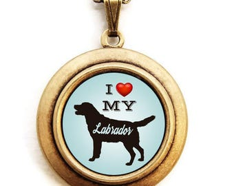 Dog Breed Locket - Choose Your Breed - Silhouette Dog Breed Locket Necklace -Light Blue Background - 31 Breeds to Choose From
