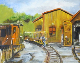 Midland Railroad Speeder and Train Barn - Original 12 x 12 inch Oil Painting on wood panel
