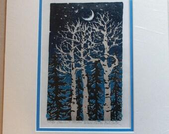 Crescent Moon linoleum block print