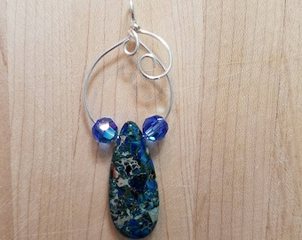 Sea Sediment Jasper Blue Drop Swarovski faceted round bead Silver Wire Wrapped Pendant Handmade Jewelry Simple Swirls