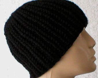 Black ribbed beanie hat, skull cap, toque, black knit hat, beanie hat, mens womens hat, winter hat, chemo cap, black hat, black beanie V1 92