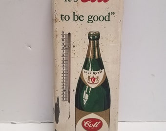 Vintage Antique COTT GINGER ALE, It's Cott To Be Good,  Thermometer, 1950'S-60's Metal, Glass, Mercury, Advertising