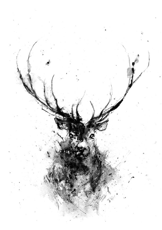 Deer deer head animal art print deer art black and white