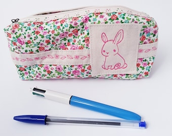 Kit flower with a pink Bunny embroidered with embroidery detail