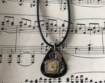 """Guitar pick pendant reusing vintage watch parts, clock faces, gears, in 19"""" black faux leather cord"""