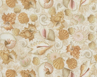 Timeless Treasures - Sea Breeze - Shells - Sand - Fabric by the Yard C5748-SAND
