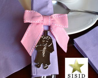 20 First Communion Keychains for Guests, Pink Bows, Pink Bows Napkin Rings with Stunning Girl First Communion Key Chains