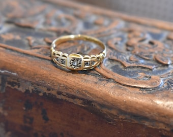 18ct Gold & Diamond Victorian Gypsy Star Ring