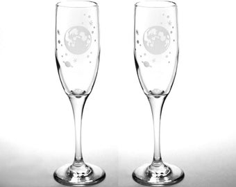 Full Moon and Stars Champagne Flute