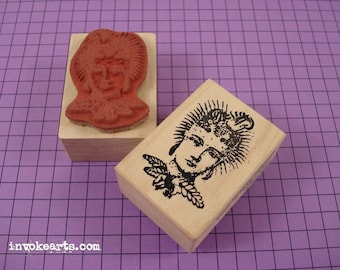 Mini Fern Flower Face Stamp / Invoke Arts Collage Rubber Stamps
