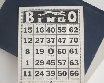 Vintage BINGO card with greyhound graphics, Dog art, 1-Star Series Greyhound made in the U.S.A