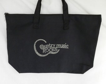 Rhinestone Country Music Rocks Tote Bag It Comes With A Removable Guitar Zipper Pull Charm Or Choose A Charm From The 2nd Pic Concert Bag