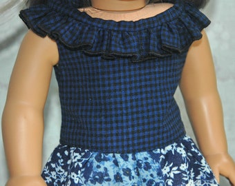 american, made, girl, doll, fits, 18 inch doll, ruffled, top, shirt