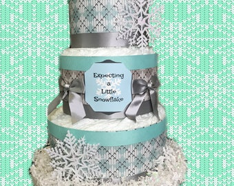 Expecting a Little Snowflake Winter/Christmas Baby Shower Diaper Cake- Teal