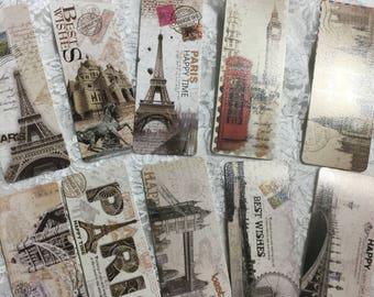 Paris Random Bookmarks, ( Set of 5 ) Ephemera, Journaling, Scrapbooking, Page Holder