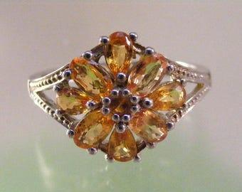 Vintage Golden Topaz Cluster Ring in Sterling Silver .....  Lot 5693