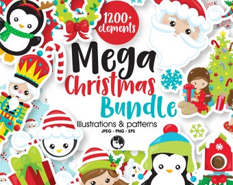 80% OFF SALE Christmas BUNDLE graphic set,  Christmas clipart commercial use, christmas clipart, vector graphics, digital images