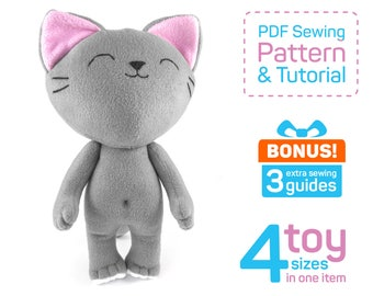 Cute Kitten sewing pattern PDF | Сat doll pattern & tutorial | Kitten plush pattern | Cat doll fabric | Cat patterns to sew