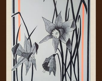 Original drawing - Daffodil - Lechapeaudlagamine - design and Interior