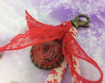 Pink cherry Medallion liberty bag charm