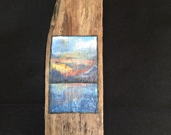 Miniature painting-reclaimed driftwood- seascape painting-hand painted -oil painting-