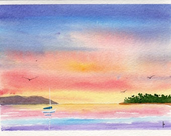 Original watercolor painting GREETING card SFA boat sunset
