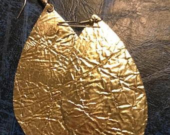 Leather earrings , golden goddess