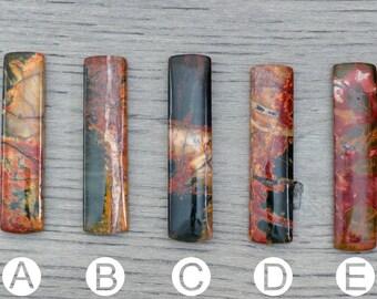 Red Creek Jasper Rectangle Bar Pendants with side drilled holes - OOAK