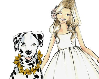 Fashion Illustration Print-Fashion Sketch- Girl Illustration-Kid Illustration Print-Child-Dalmation Sketch-Fashion Illustrator- Brooke Hagel