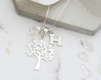 Tree of Life Necklace – Personalised Necklace – Sterling Silver Necklace – April Birthstone Necklace – Family Tree Necklace – Gift for her