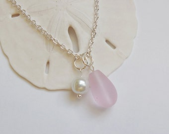 Light Pink Sea Glass Necklace, Beach Glass Necklace, Sea Glass Jewelry, Beach Glass Jewelery, Bridesmaid necklace, Free Shipping in US