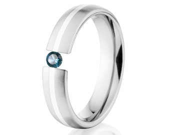 Tension Set Ring, 5mm, Uniequly You, Two Toned Titanium and Sterling Silver, Blue Topaz, 5HR11G-SS-BR