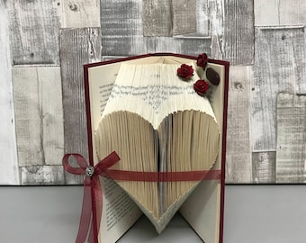 Folded book art, book folds, folded book, paper gift, large heart, repurposed book, anniversary, book sculpture, wedding anniversary, heart