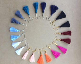 TILLIE - Mini Cotton Tassel Earrings - Shepherds Hook 4cm / various colours