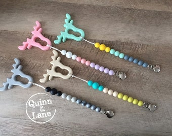 Pacifier Clip w/ Silicone Teething Moose Teether - Bite Beads Soother Clip - Baby Toy - Chew Toy - Chewing Beads - Teething Toy - Teether