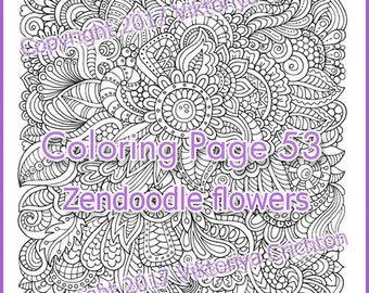 Colouring page zendoodle flowers, graphic handmade printable adults, digital PDF, zentangle inspired, doodling, intricate patterns.
