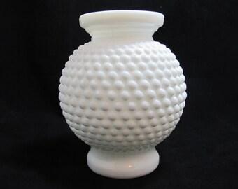 Vintage Rounded Hobnail Milk Glass Vase